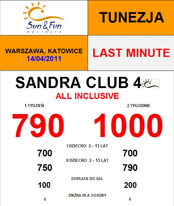LAST MINUTE Sandra Club